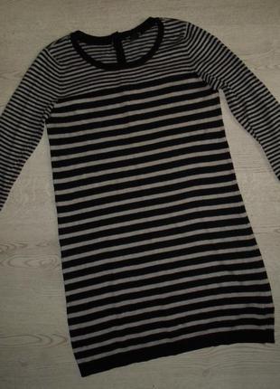 Тепленькое полосатое платье - свитер