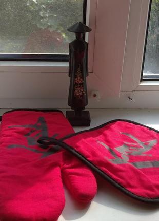 Кухонный набор варежка и прихватка в китайском стиле