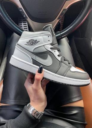 Air jordan 1 mid gray black кроссовки найк аир джордан наложенный платёж купить