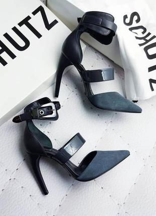 Schutz оригинал темно-серые туфли замшевые на шпильке