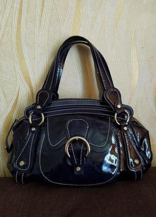 Кожаная лаковая сумка francesco biasia