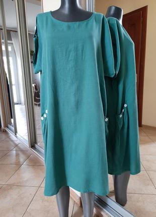 Лазурное котоново-льняное с карманами платье 👗большого размера