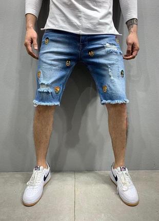 Мужские джинсовые шорты синие с потертостями