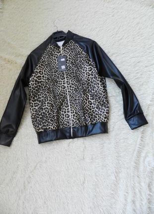 Бомбер куртка эко кожа принт леопард лео
