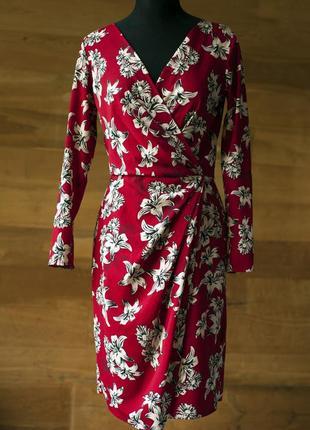 Красное платье с крупными цветами на запах миди женское closet, размер s, m