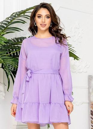 Платье женское на лето легкое белое короткое мини шифоновое розовое
