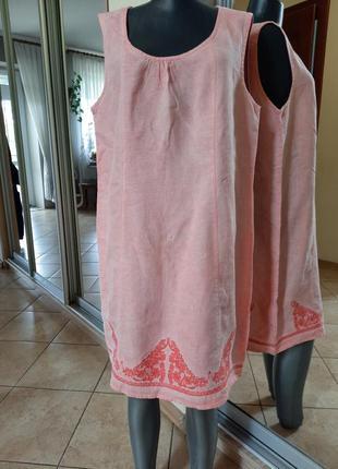 Льняное (варенка) с вышивкой платье 👗большого размера