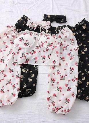 Базовые кроп-топ блузки в мелкий цветочек с чокером,топ с объемными рукавами,топик push-up,блуза