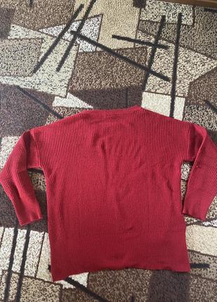Свитер вязаный красный с разрезами хл2 фото