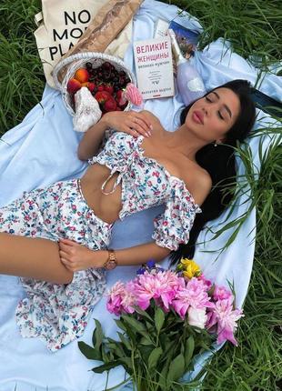 Костюм юбка на запах и топ с открытыми плечами платье летнее