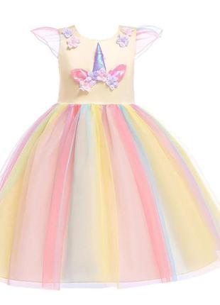 Нарядное пышное платье для девочки единорог детское платье