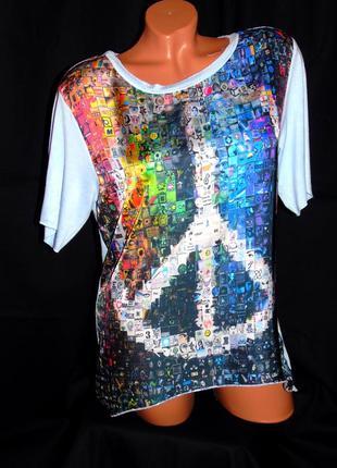 Шикарная футболка - блуза с ярким принтом - m - l