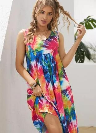 Шикарное разноцветное платье свободного кроя