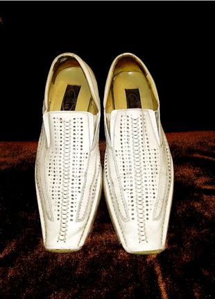 Мужские, летние, кожаные туфли, мокасины р. 43