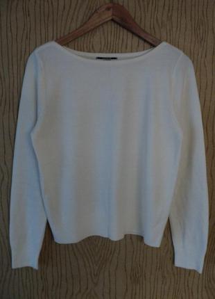 Джемпер свитер белый теплый осенний зимний весенний длинным рукавом нежный светлый лодочка