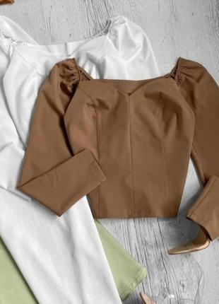 Трендовая кофточка на плечи карамель цвет