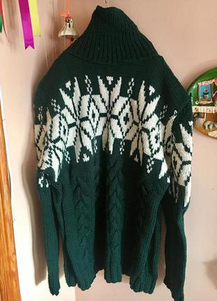 Теплый свитер на мужчину, норвежский узор