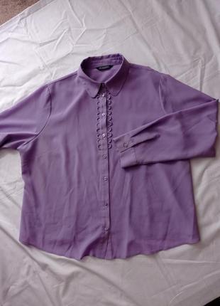 Фиолетовая сиреневая рубашка блуза блузка под винтаж
