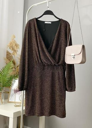 Блестящее платье на запах с люрекса