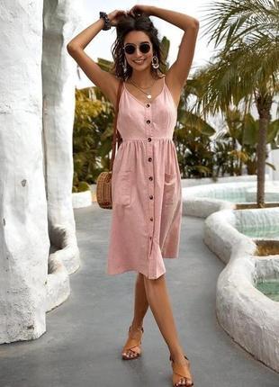 Женское платье сарафан лён