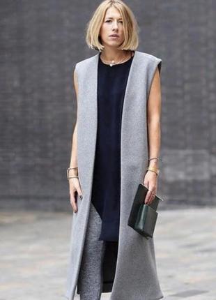 Длинное двубортное серое пальто пальто жилет без рукавов ❤️