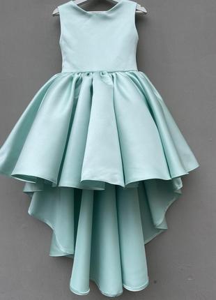 Нарядное атласное платье для девочки цвет тиффани «эма»