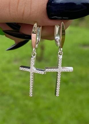 Модные серебряные серьгис золотом