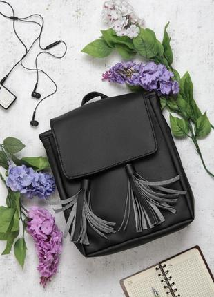 Маленький компактный черный молодежный городской рюкзак