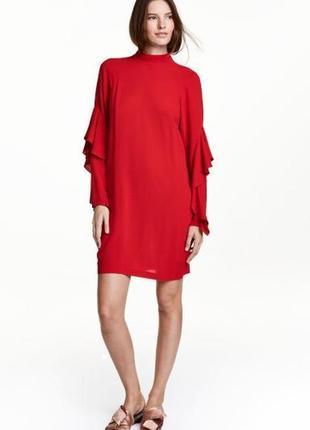 Роскошное красное платье с воланами h&m