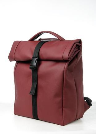 Новый универсальный бордовый мини ролл топ / рюкзак эко кожа