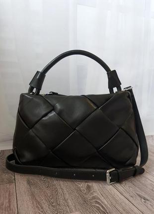 Кожаная сумка плетение, с длинным ремешком