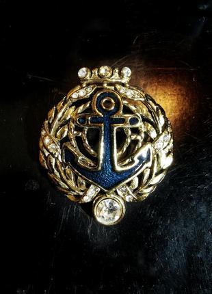 Крупная винтажная американская брошь эмаль danecraft якорь корона герб кристаллы стразы