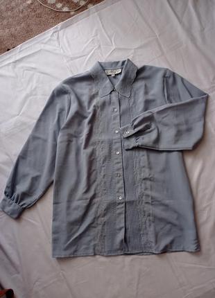 Серо-голубая винтажная рубашка блуза блузка joan gozzi