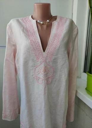 Туника блузка этно бохо стиль, оверсайз, лен