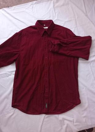 Винно-красная бордовая вельветовая рубашка