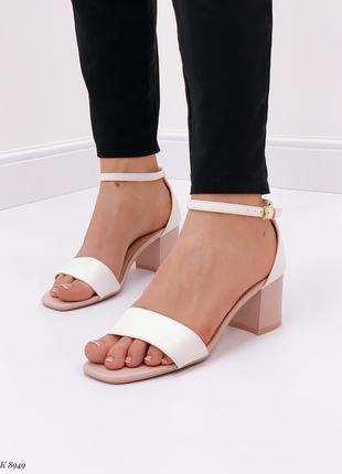 Удобные босоножки на небольшом квадратном устойчивом каблуке (эко-кожа)