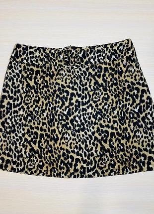 Леопардовая юбка летняя мини 48