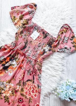 Платье миди с жатой тканью  с разрезами в цветочный принт