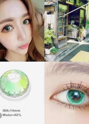 Линзы цветные для глаз, звездное небо зеленые + контейнер для линз в подарок