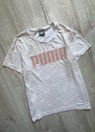 Белая футболка с кружевным принтом puma