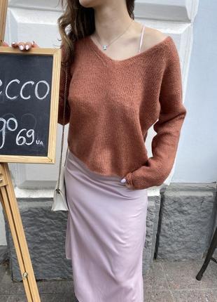 Стильный базовый свитер в цвете «корица»