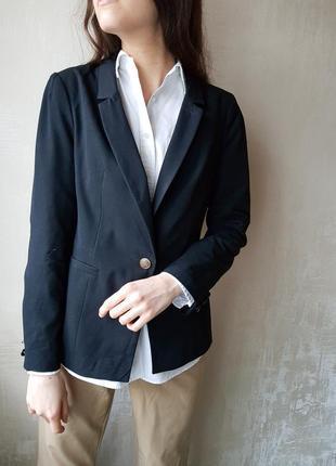Пиджак черный деловой стиль классика винтаж база размер m