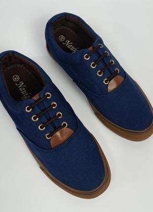 Кеды мужские синие текстильные, слипоны