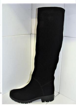 Женские  модные зимние сапоги трубы низкий каблук натуральный замш  37.40р