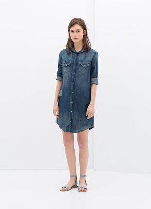 Джинсовое платье zara, размер xs