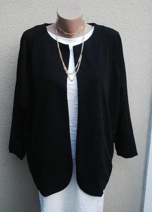 Новый,черный,фактурный кардиган,жакет,пиджак без застежки(подкладка)большой размер.