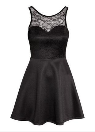 Шикарное черное неопреновое платье с кружевом и открытой спинкой в стиле беби-долл от h&m