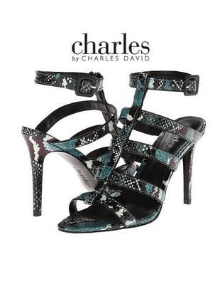 Charles david оригинал босоножки кожаные на шпильке змеиный принт бренд из сша