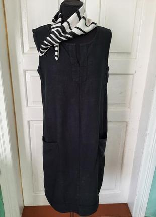 Натуральное платье без рукавов с карманами