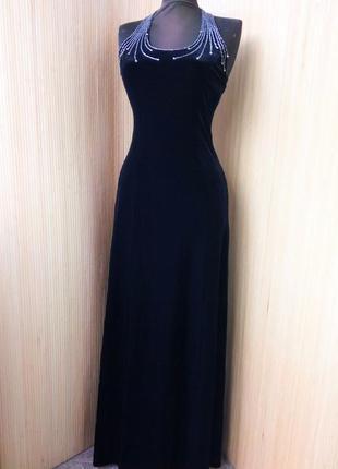 Вечернее винтажное чёрное длинное велюровое платье  с открытой спиной modissa